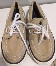 Ralph Lauren Boys Boat Shoes Tan Canvas Shoe Lace Tie Size 2