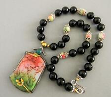 Vintage Chinese Carved Tiger sterling Silver Onyx Bead Necklace