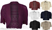 New Womens Crochet Knitted Short Sleeve Ladies Bolero Shrug Cardigan Crop Top