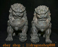 "11.2 ""Rare Ancien Chinois Bronze Fengshui Foo Fu Chien Garde Lion Statue Paire"