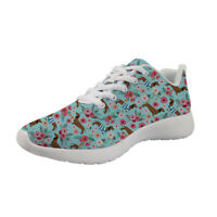 Dachshund Floral Shoes Womens Sport Sneakers Running Wedge Driving Fitness Girls
