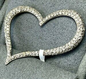 18K White Gold Pave Diamond Asymmetric Open Fluted Heart Vintage Pendant Clip