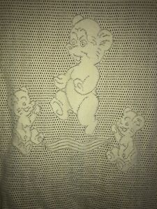 Robinsons RN Made in Scotland Yellow Bear Baby Blanket 95% Cotton Open Weave