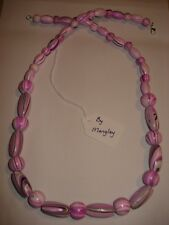 """MANGLEY JEWELLERY Wooden bead necklace pink 29"""" *NEW*"""