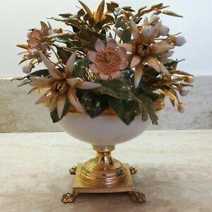 Gorham Metal Enamel Flower gold base white bowl  c 1960s or 70s Jane Hutchinson