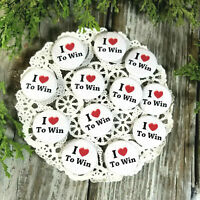 "12 New Packaged Win Pins 1 1/4"" Pinback Buttons * Party Favor Gift USA Winning"