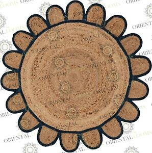Round Jute Navy Blue Hand Made Rug, Bohemian Decor, Customize in Any Size....
