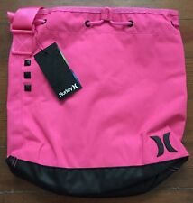 Hurley Drum Shoulder Bag Tote Bag  Cinch Top Neon Hot Pink NEW NWT
