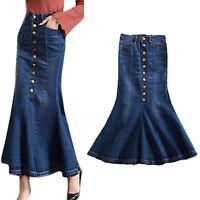 Women's Denim Skirts Modest Fish-tail Maxi Long Denim Skirt Flounce Jean Dress