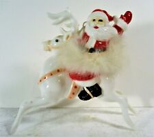 OLD 50S PLASTIC SANTA RIDING REINDEER, WITH ORIG RABBIT FUR BAND, MINT CONDITION