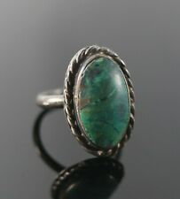 Vintage .925 Sterling Silver Signed MMK Turquoise TAXCO Rope Size 5.5 Ring 4.8g