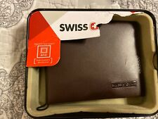 Swiss Gear Brown Leather Mens Bifold Wallet NWT