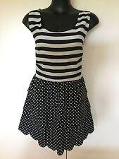 Size 14/16 Smart Flattering Bnwt Black Stripe Dot Dress
