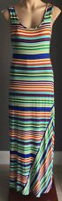 Retro Gem Multi Colour CALVIN KLEIN Stripe Sleeveless Casual Maxi Dress Size 8