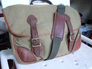 vintage LL.BEAN Clipper CANVAS Leather  Messenger Bag Briefcase Laptop  3