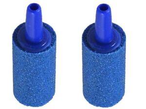 2 x 35mm Long Aquarium Blue Cylinder Airstones for Fish Tanks Vivariums Vivs