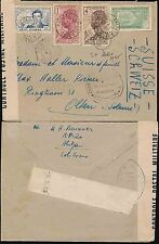 FRENCH West AFRICA COSTA D'AVORIO 1940 censurata D + nastro + lettera 4 COLORI franking