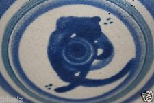 """Hand Thrown Pottery  Plate Blue glaze Design resembles Owl 5.25"""", footed"""