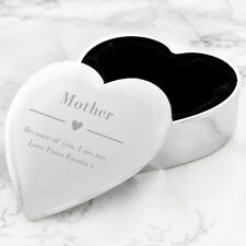 Personalised Engraved Jewellery Trinket Box Heart Mothers Day Christmas Gift