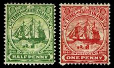 1905-08 Turks & Caicos Islands #10-11 Wmk 3 - OGHR - VF - CV$26.50 (ESP#3355)