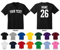 Custom Name & Number Personalized Adult Men's T-shirt, Choose Text ARCHED TEXT