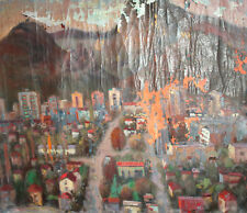 ANTIQUE EXPRESSIONIST CITYSCAPE LARGE OIL PAINTING