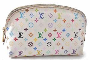 Auth Louis Vuitton Monogram Multicolor Pochette Cosmetic Pouch White LV C9162