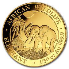 2017 Somalia 1/50 oz Gold African Elephant BU - SKU #102916