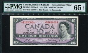 Canada 1954, 10 Dollars, BC-40bA, Replacement,Star note, PMG65 EPQ GEM UNC