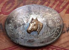Vintage Comstock Silver Western Cowboy Cowgirl Belt Buckle Horse Head