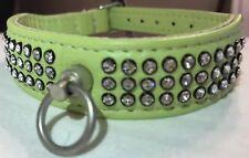 Bobby Verde Princesa De Cristal Swarovski Cuero de Piel de Cordero 38-4cm collar de perro