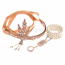 1920s Vintage Headband Bracelet Ring Sets Great Gatsby Flapper Bridal Headpiece