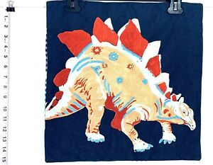 "Pottery Barn Kids Dinosaur Stegosaurus 16"" pillow cover Blue Checked Back"