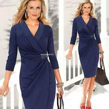 Sexy Women V Neck Ruched Wrap Evening Party Work Tunic Sheath Pencil Midi Dress