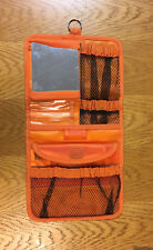 Hanging Orange Makeup Organizer / Carrier With Mirror and 7 Opening Compartments