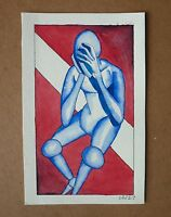 SEAN J. WHITE Original Abstract Figurative Watercolor Painting
