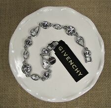 "Givenchy Crystal 7.5"" Silver Tone Flex Tennis Bracelet Nickel Safe MSRP $65"