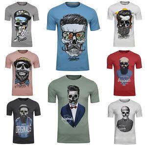 JACK & JONES Baumwoll T-Shirt Soytan Tee Crew Neck Rundhals Hipster Schädel