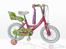 "CONCEPT LITTLE CUTIE GIRLS 14"" WHEEL BIKE PINK WITH DOLLY SEAT & STABILISERS"