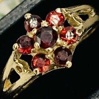 Solid 375 9ct Yellow Gold Flower Shaped Garnet Set Ring UK N US 6 3/4 L175