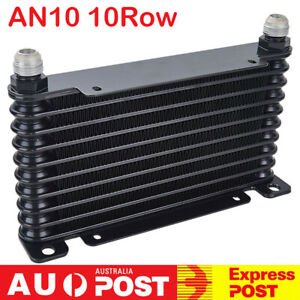 AN10 32mm 10 Row Racing Coated Mount Engine Transmission Oil Cooler Universal BK