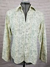 L.L. Bean Women's Top-Sm/Reg-Long Slv-Yellow Green Floral-Casual-V Neck-Collared