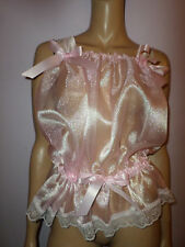 """PINK  ORGANZA  CAMISOLE  TOP WHITE LACE TRIM  35-55"""" Bust  SATIN BOWS"""