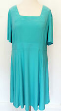 Simply Be Plus Size 30 Sea Green Stretch Jersey Square Neck DRESS Day To Evening