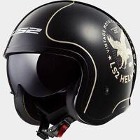 M Medium LS2 Spitfire Open Face Motorbike Helmet Vintage Retro Flier Black Gold