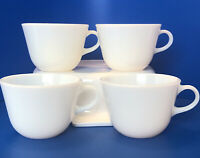 Lot of 4 Vintage corning Milk Glass Coffee Mugs Corning Ware White Tea Cup Mug