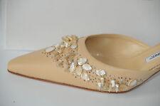 $1295 New MANOLO BLAHNIK CORRO NUDE BEIGE JEWELED SHOES kitten heels Mules 36