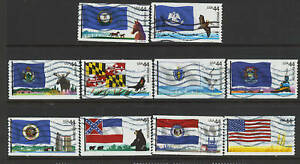 Scott #4293-4302 Used Set of 10, Flags of Our Nation Set #3