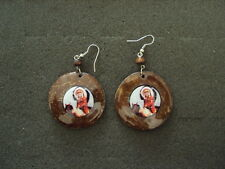 NEW PAIR OF COCONUT WOOD EARRING W/ AMERICAN WARRIOR PICTURE