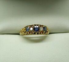 Beautiful Edwardian 18 Carat Gold Sapphire And Diamond Gypsy Ring Size J